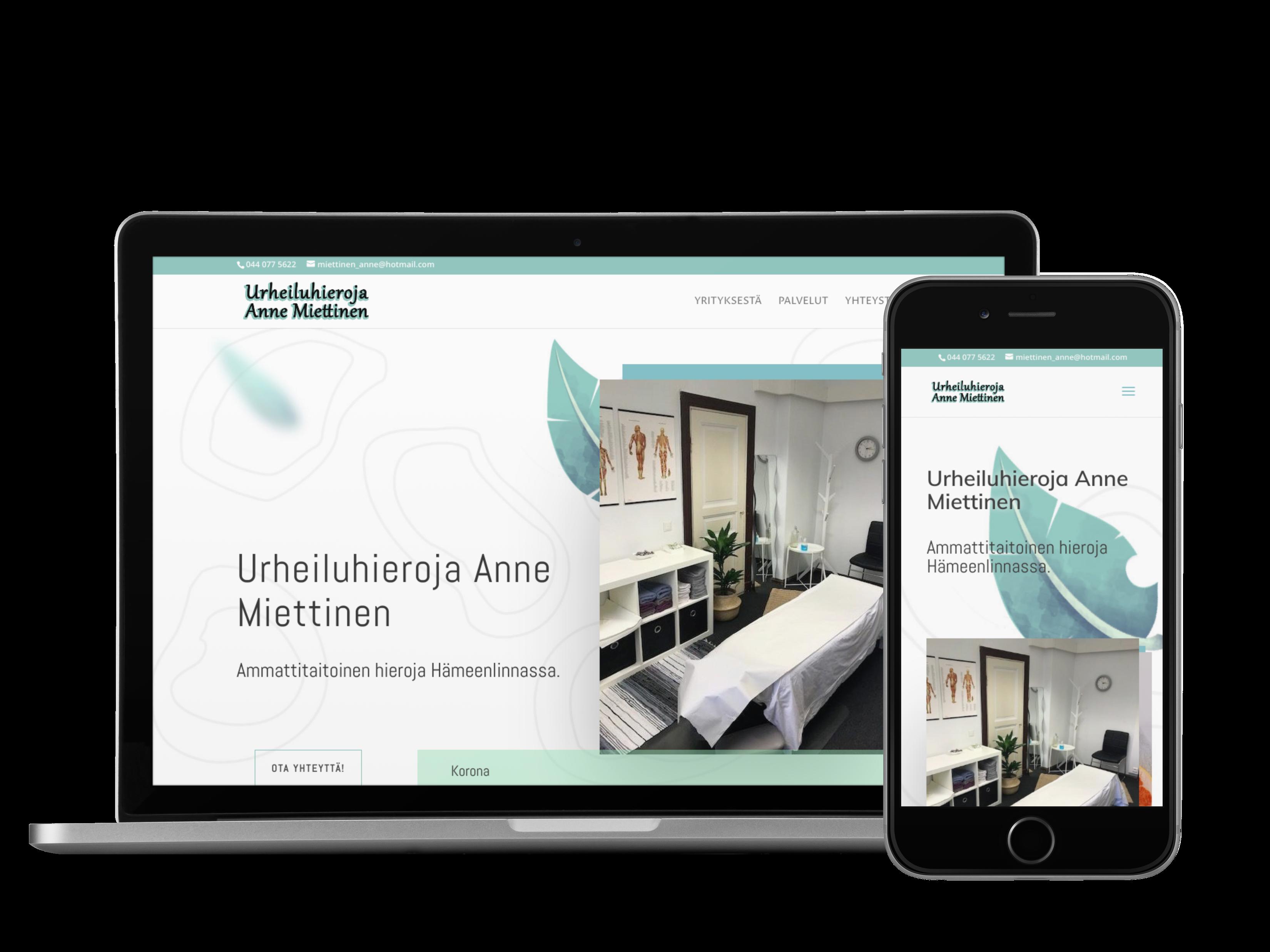 Kotisivut yritykselle Urheiluhieroja Anne Miettinen.