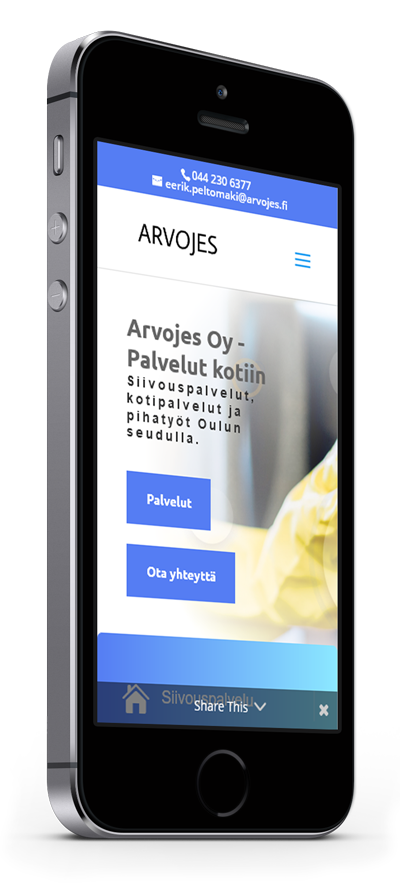 Mobiilioptimointi, kotisivut yritykselle Arvojes Oy toteuttaa Kotisivusi.fi.