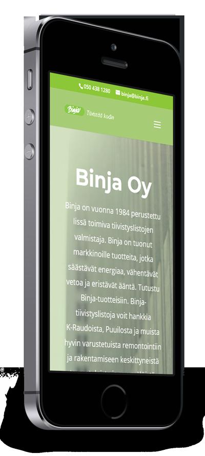 Mobiilioptimointi, kotisivut yritykselle Binja Oy toteuttaa Kotisivusi.fi.