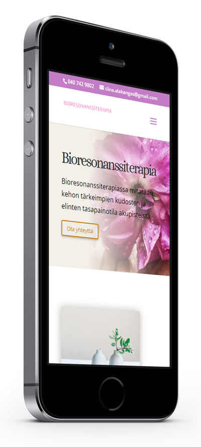 Mobiilioptimointi, kotisivut yritykselle Bioresonanssiterapeutti Tiina Alakangas toteuttaa Kotisivusi.fi.