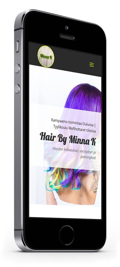 Mobiilioptimointi, kotisivut yritykselle Hair By Minna K toteuttaa Kotisivusi.fi.