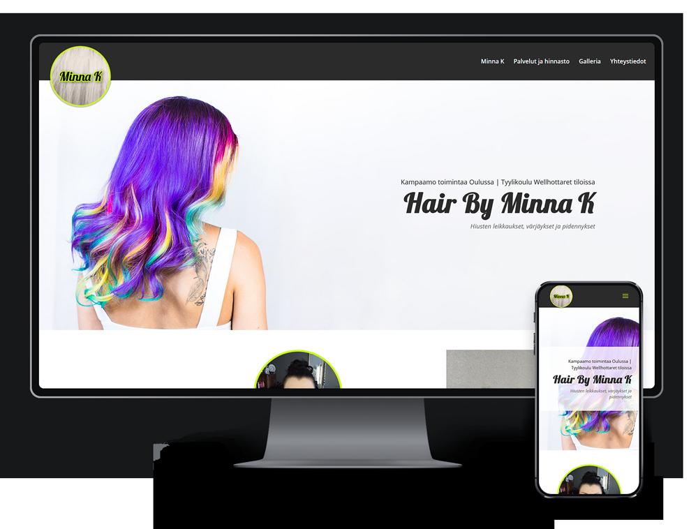 Kotisivut yritykselle Hair By Minna K referenssi.