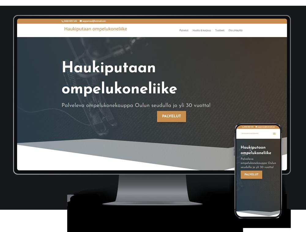 Kotisivut yritykselle Haukiputaan ompelukoneliike referenssi.