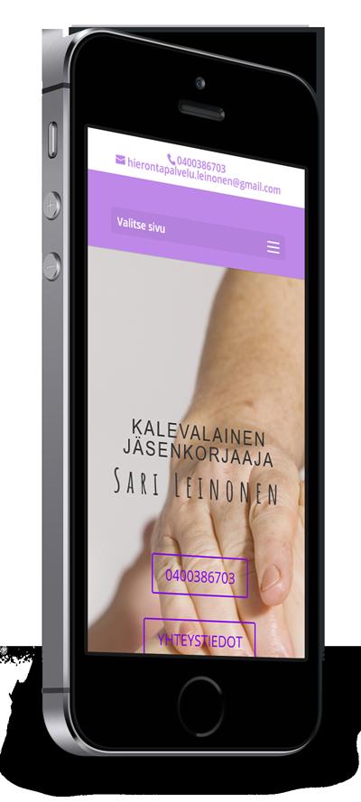 Mobiilioptimointi, kotisivut yritykselle Hierontapalvelu Sari Leinonen toteuttaa Kotisivusi.fi.