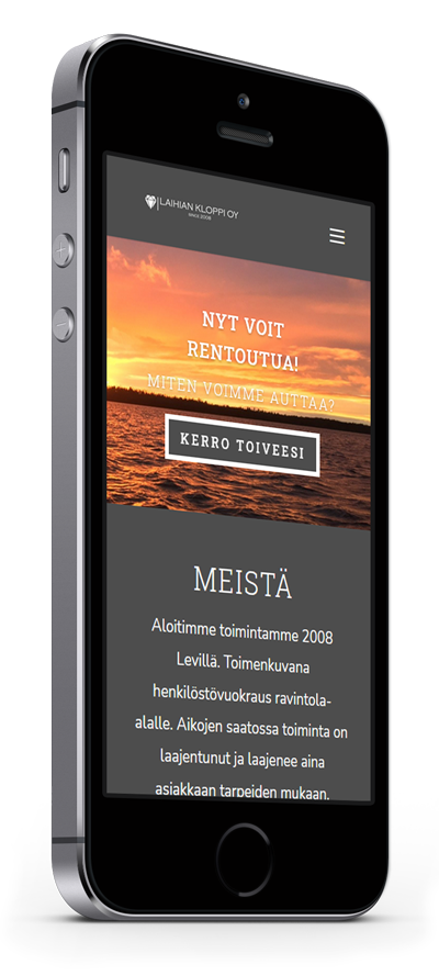 Mobiilioptimointi, kotisivut yritykselle Laihian Kloppi Oy toteuttaa Kotisivusi.fi.