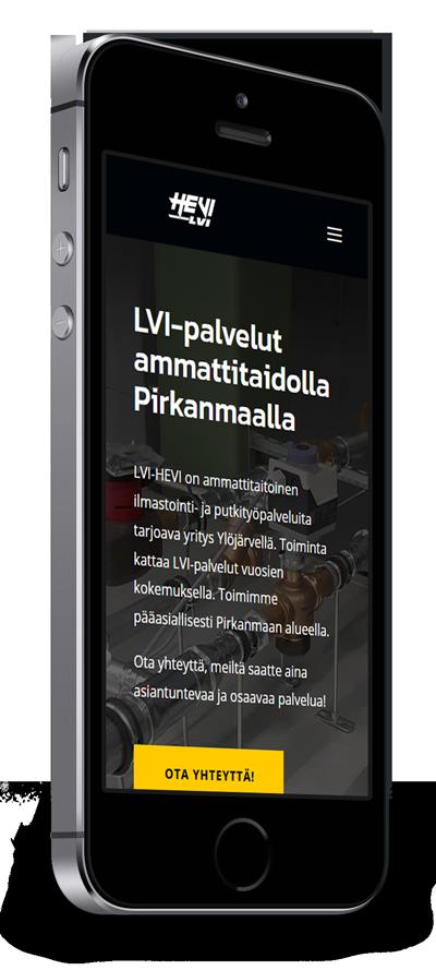 Mobiilioptimointi, kotisivut yritykselle LVI-HEVI toteuttaa Kotisivusi.fi.