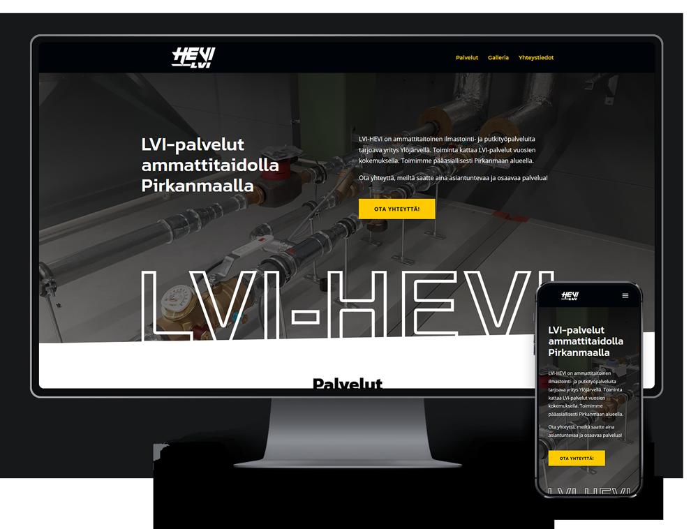 Kotisivut yritykselle LVI-HEVI referenssi.