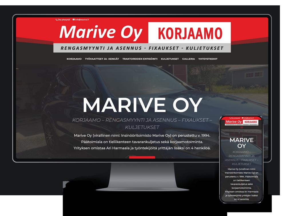 Kotisivut yritykselle Marive Oy referenssi.