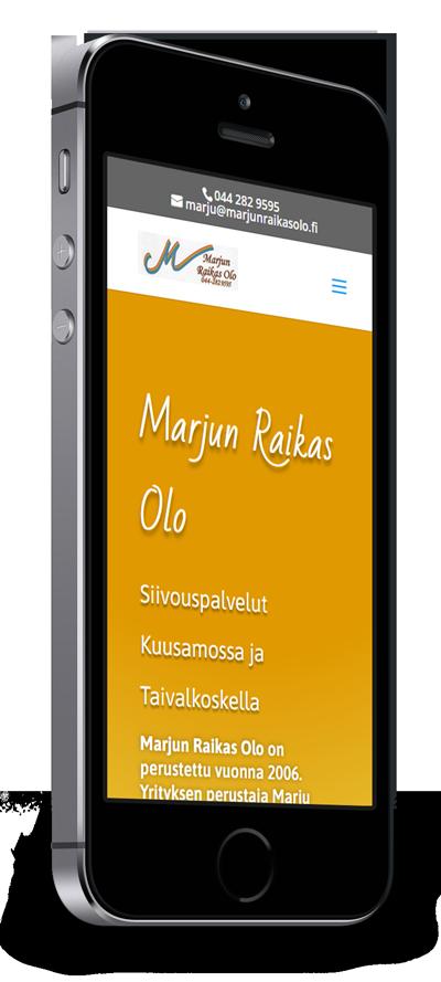 Mobiilioptimointi, kotisivut yritykselle Marjun Raikas Olo toteuttaa Kotisivusi.fi.