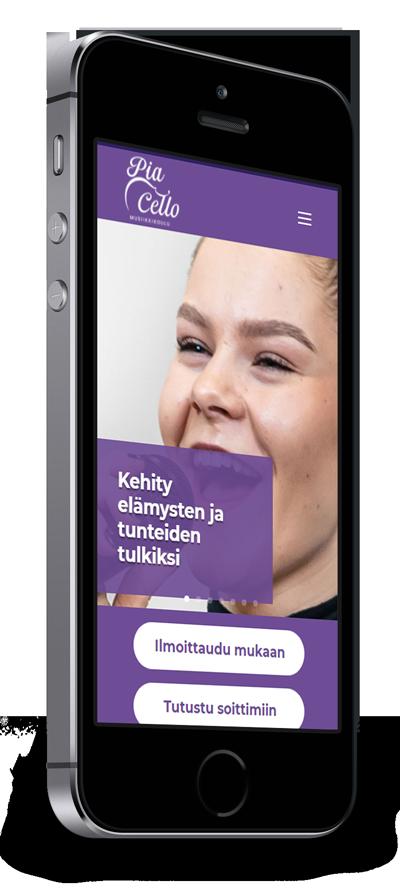Mobiilioptimointi, kotisivut yritykselle Musiikkikoulu PiaCello Oy toteuttaa Kotisivusi.fi.
