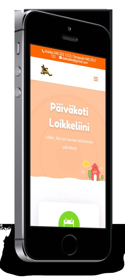 Mobiilioptimointi, kotisivut yritykselle Päiväkoti Loikkeliini toteuttaa Kotisivusi.fi.