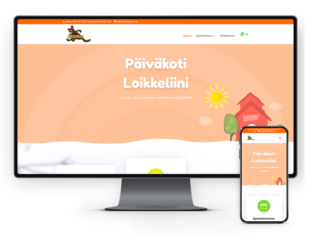 Kotisivut yritykselle Päiväkoti Loikkeliini referenssi.