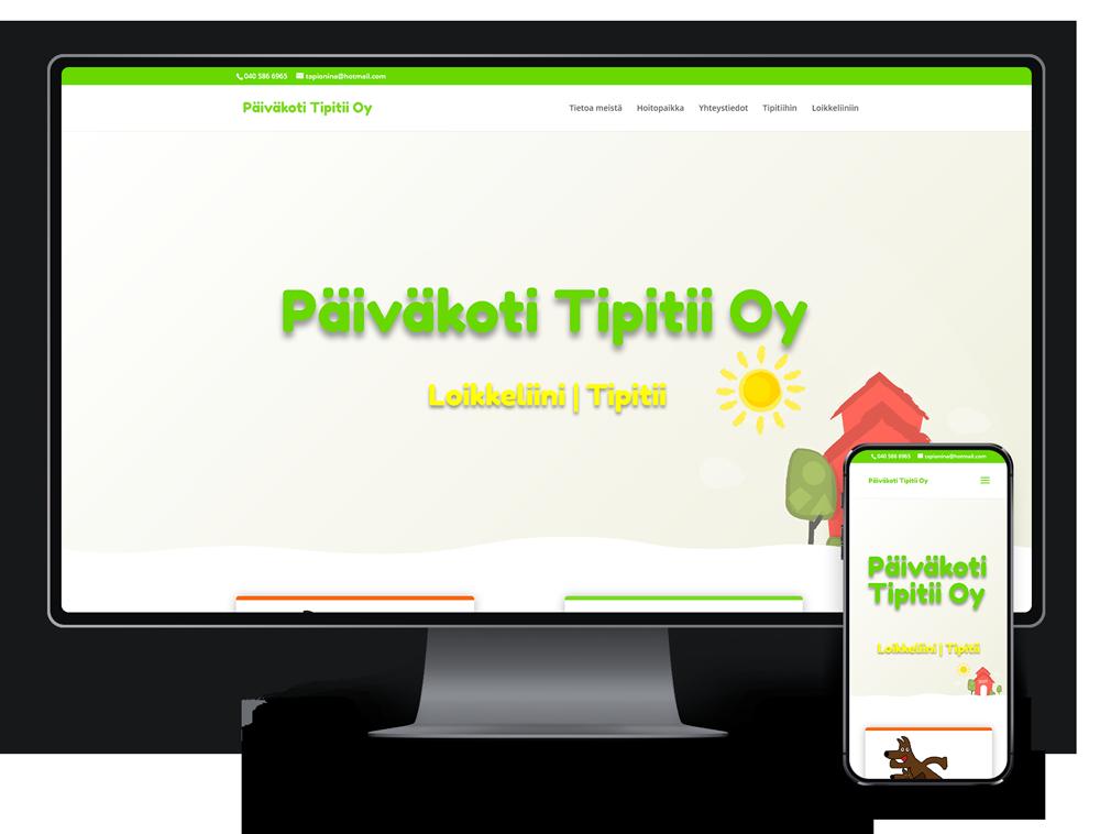 Kotisivut yritykselle Luovat Päiväkodit, Päiväkoti Tipitii Oy referenssi.