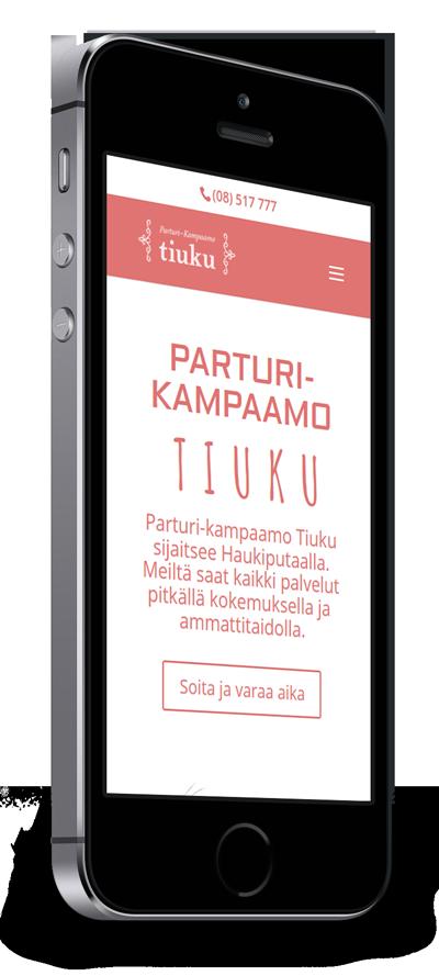Mobiilioptimointi, kotisivut yritykselle Parturi-Kampaamo Tiuku toteuttaa Kotisivusi.fi.