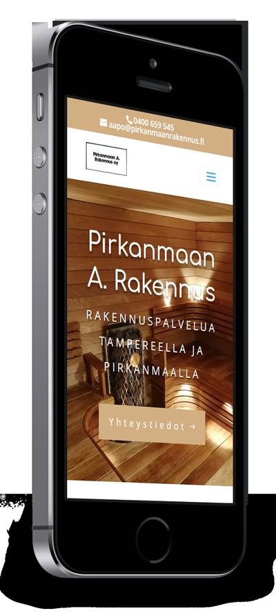 Mobiilioptimointi, kotisivut yritykselle Pirkanmaan A. Rakennus Oy toteuttaa Kotisivusi.fi.