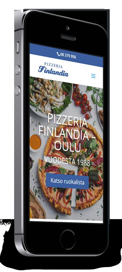 Mobiilioptimointi, kotisivut yritykselle Pizzeria Finlandia toteuttaa Kotisivusi.fi.