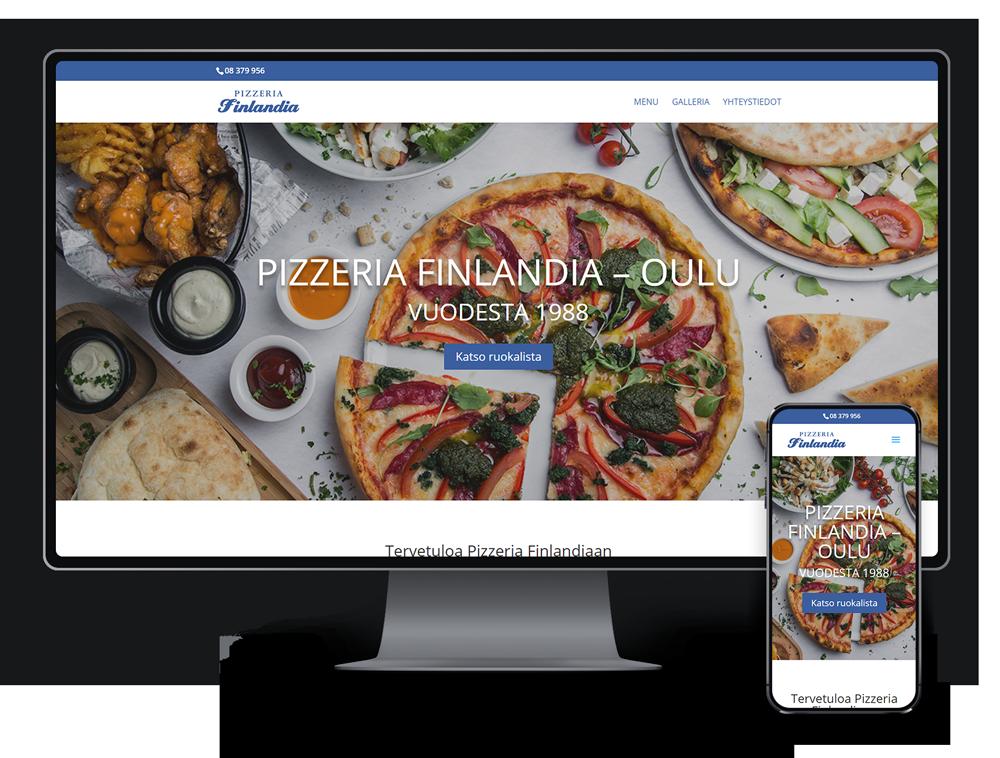 Kotisivut yritykselle Pizzeria Finlandia referenssi.