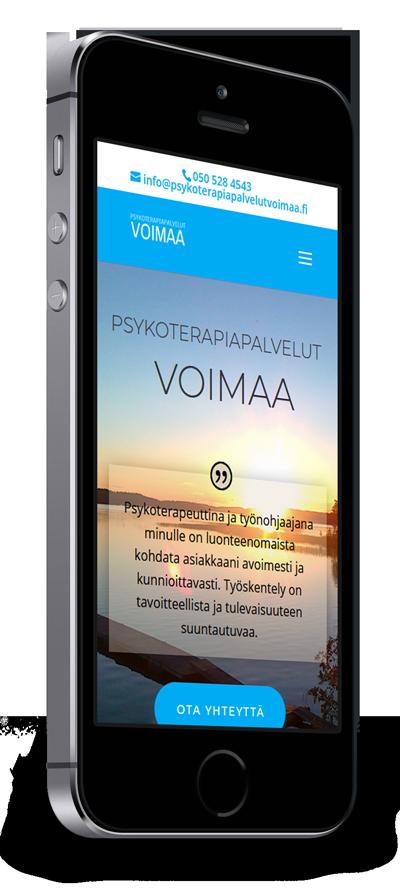 Mobiilioptimointi, kotisivut yritykselle Psykoterapiapalvelut Voimaa toteuttaa Kotisivusi.fi.