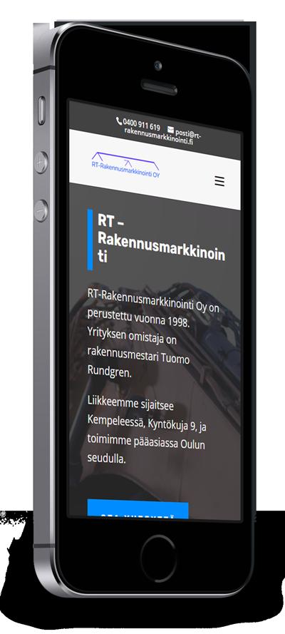 Mobiilioptimointi, kotisivut yritykselle RT-Rakennusmarkkinointi Oy toteuttaa Kotisivusi.fi.