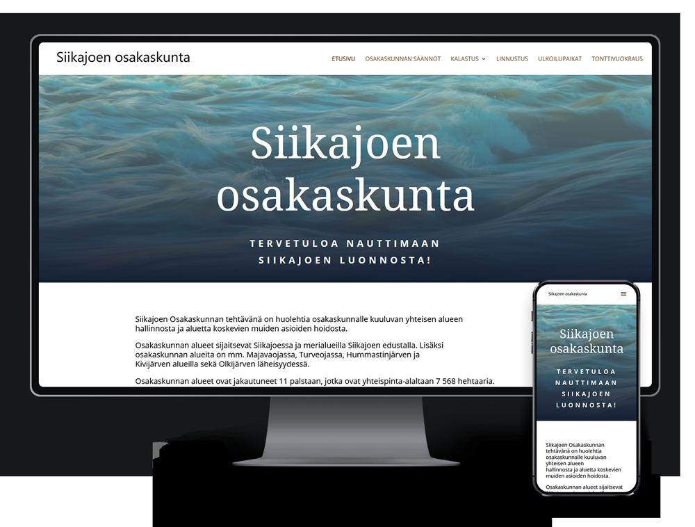 Kotisivut yritykselle Siikajoen Osakaskunta referenssi.