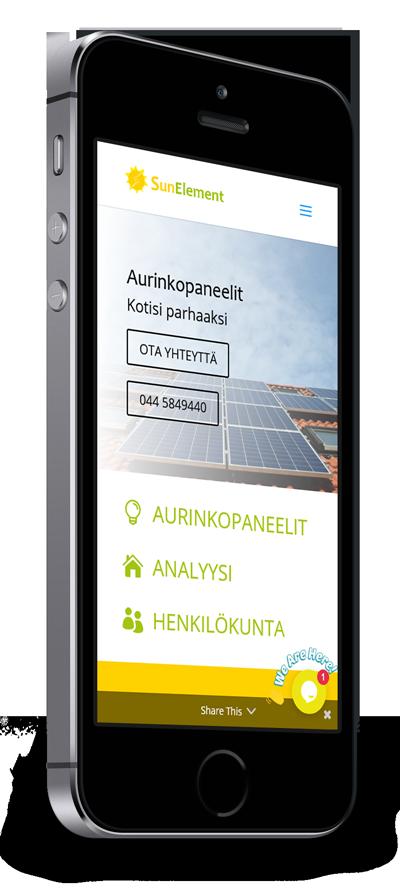 Mobiilioptimointi, kotisivut yritykselle SunElement Oy toteuttaa Kotisivusi.fi.