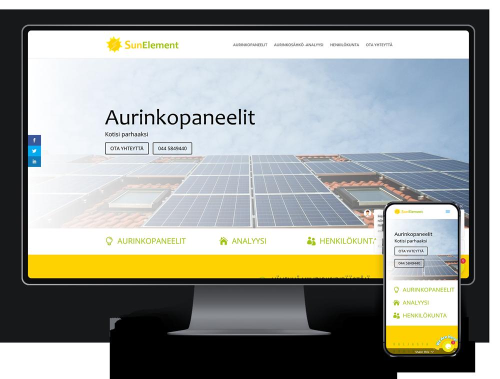 Kotisivut yritykselle SunElement Oy referenssi.