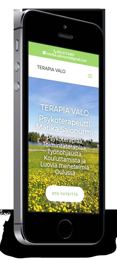 Mobiilioptimointi, kotisivut yritykselle Terapia Valo toteuttaa Kotisivusi.fi.