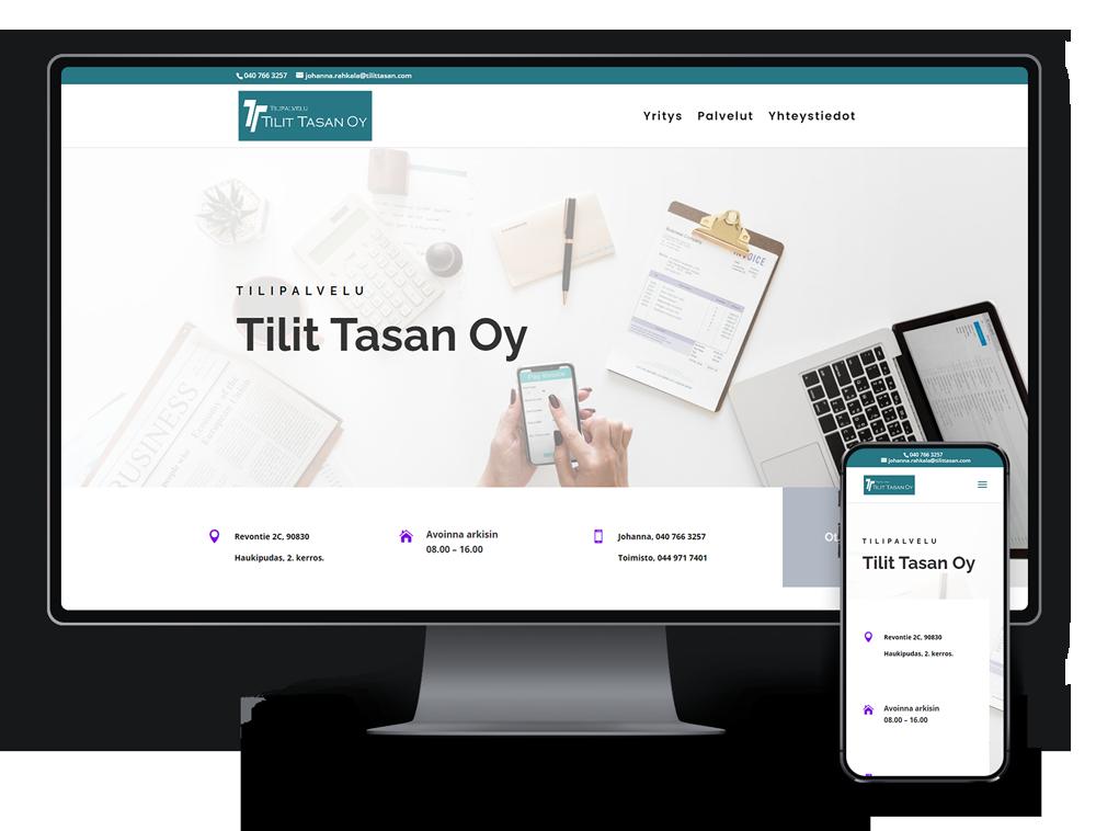 Kotisivut yritykselle Tilipalvelu Tilit Tasan Oy referenssi.