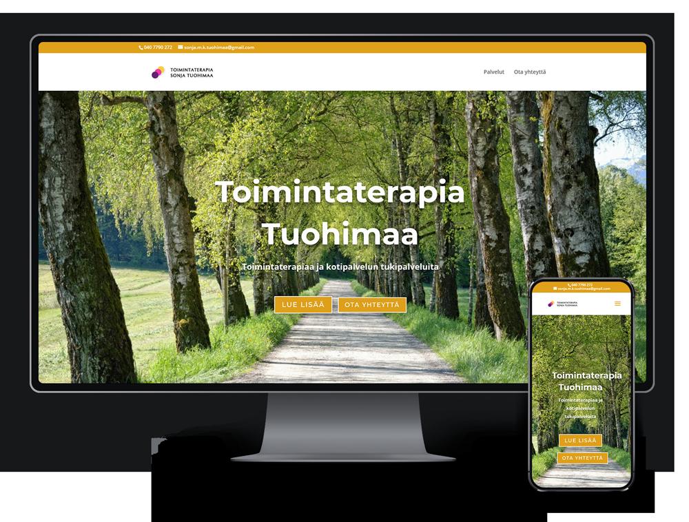 Kotisivut yritykselle Toimintaterapia Sonja Tuohimaa referenssi.
