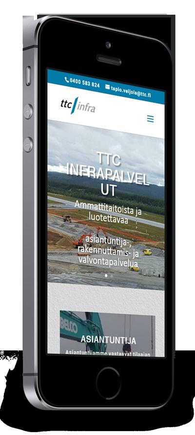 Mobiilioptimointi, kotisivut yritykselle TTC Infrapalvelut Oy toteuttaa Kotisivusi.fi.