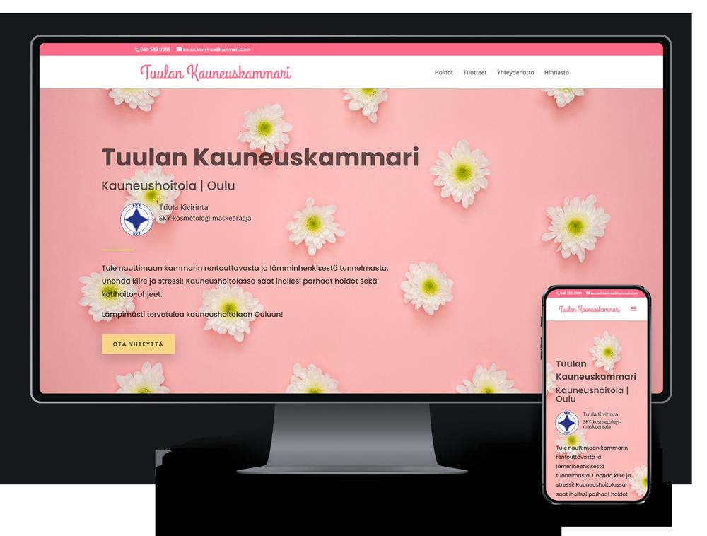 Kotisivut yritykselle Tuulan Kauneuskammari referenssi.