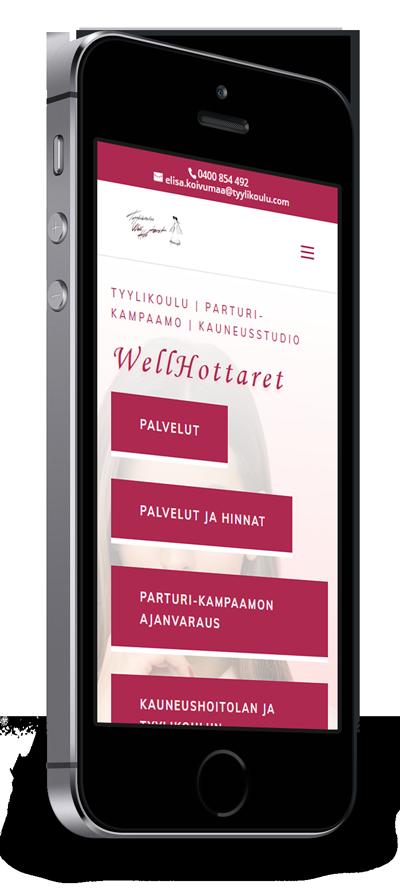 Mobiilioptimointi, kotisivut yritykselle Tyylikoulu Wellhottaret toteuttaa Kotisivusi.fi.