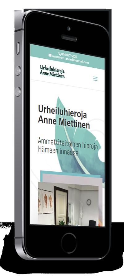 Mobiilioptimointi, kotisivut yritykselle Urheiluhieroja Anne Miettinen toteuttaa Kotisivusi.fi.