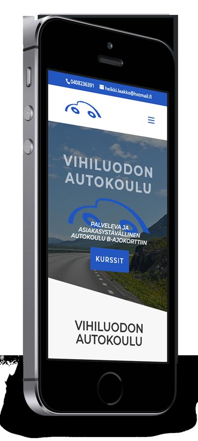 Mobiilioptimointi, kotisivut yritykselle Vihiluodon Autokoulu toteuttaa Kotisivusi.fi.