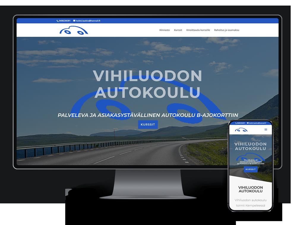 Kotisivut yritykselle Vihiluodon Autokoulu referenssi.
